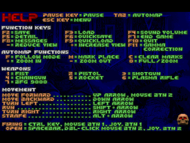 Image of Doom Help screen